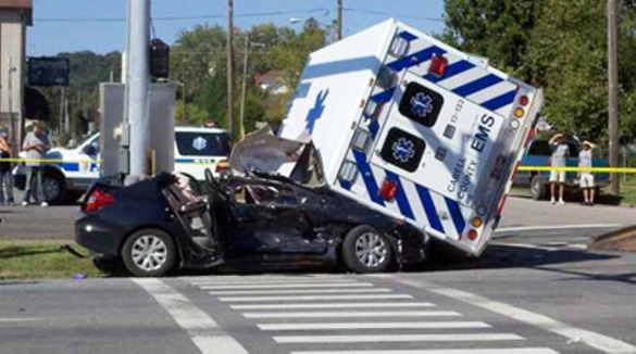 Crashes involving emergency, like this one in Huntington, WV, are becoming a common sight in the United States. (Photo by flickr user dfirecop)