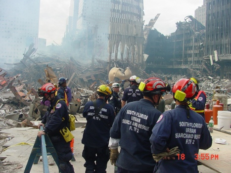 A new study has shown that firefighters, such as those pictured here at Ground Zero on September 11, 2001, are more likely to contract cancer than the average American. (Photo by flickr user USACE HQ)