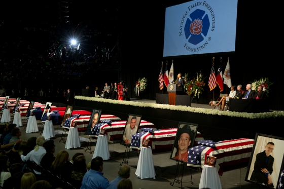 A funeral service for those killed in the West, Texas disaster was held at Baylor university and was attended by President Barack Obama. (Photo via WhiteHouse.gov).