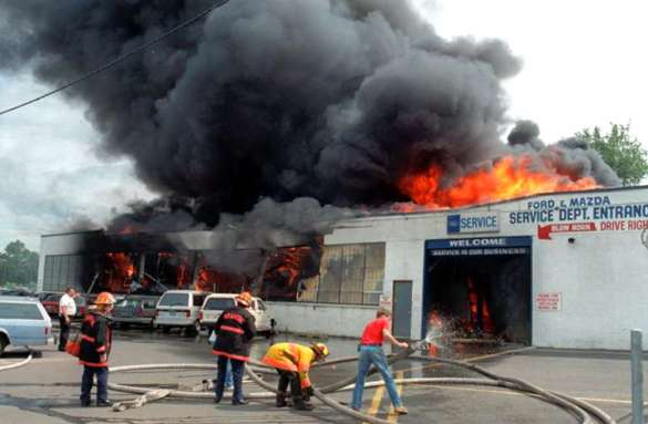 The Hackensack Ford Fire cost the lives of three firefighters. (Photo via Wikimedia Commons).