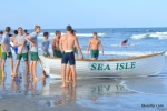 Members of the Sea Isle City Beach Patrol prepare to take part in the events during the Tri-Resorts Lifeguard Races on July 13, 2015 in Sea Isle City.