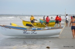 Rowboats line up to compete in the Mixed Doubles Row event at the Tri-Resort Lifeguard Races on July 13, 2015 in Sea Isle City.